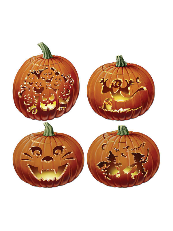 Kürbisse Pappfiguren Halloween Party-Deko-Set 4-teilig orange 36cm