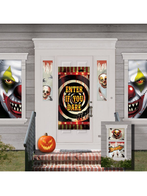 Horror-Clown Haus-Deko Set Halloween-Party schwarz-bunt 82x165cm