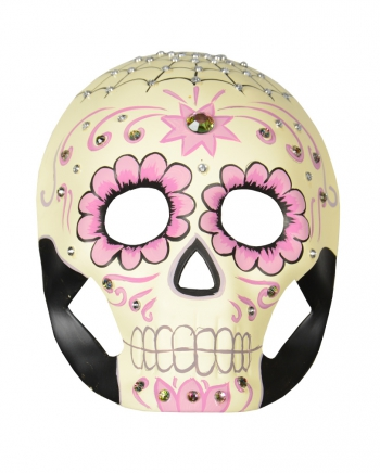 Day of the Dead Maske mit Ranken & Strasssteinen