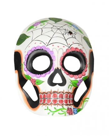 Day of the Dead Maske mit Blüten & Spinnennetz