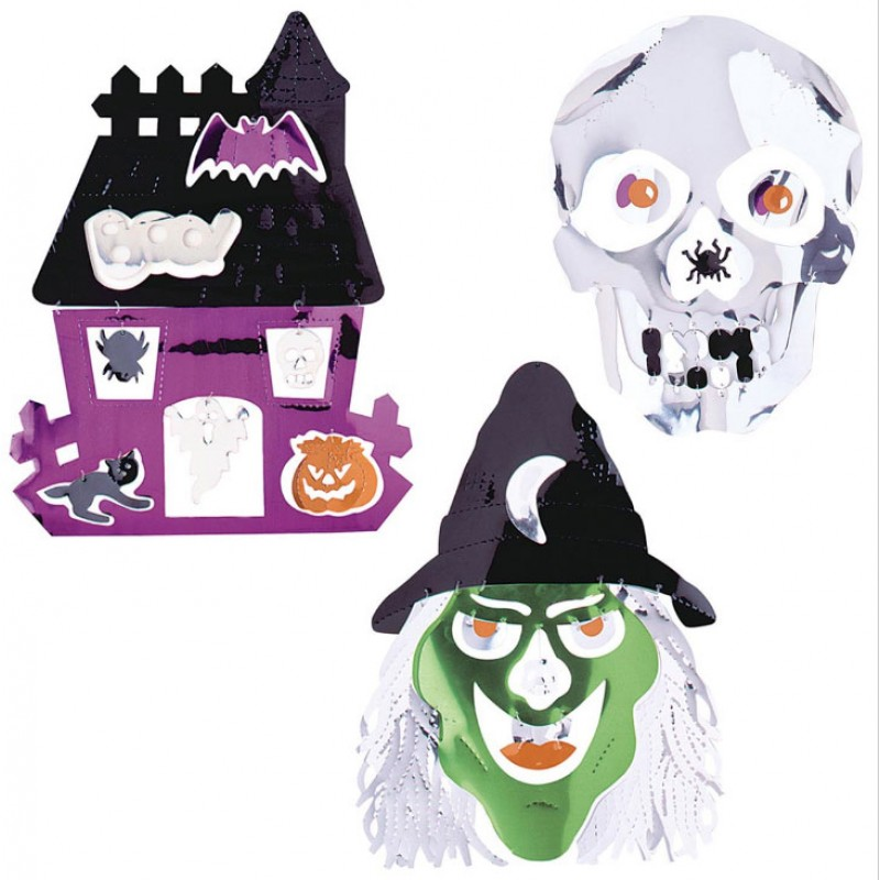 Halloween Metall-Dekoration in 3-Styles-Hexe