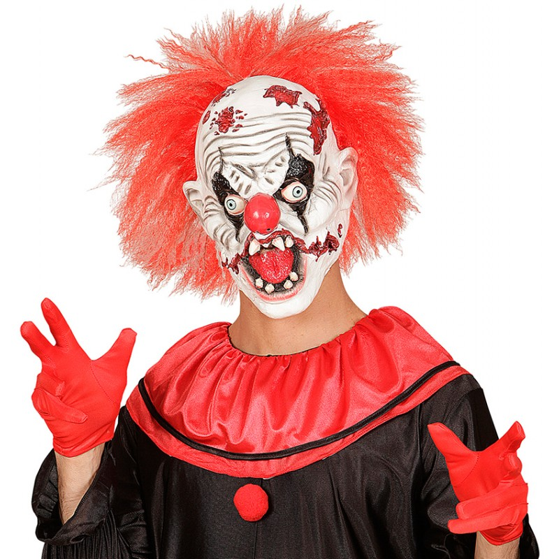 Horror-Clown Maske mit roten Haaren