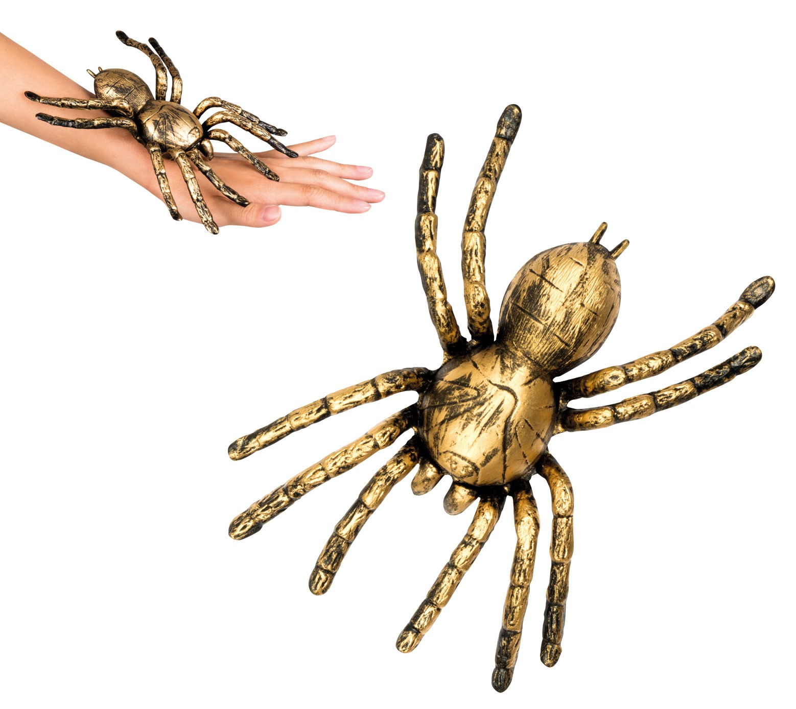 Spinne gold 21x15cm Halloween Dekoration